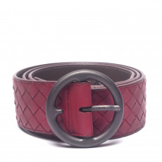 Bottega Veneta Maroon Intrecciato Leather Round Buckle Belt (01)