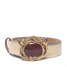 Roberto Cavalli Gold Belt with Embellished Buckle