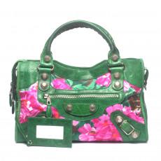 Balenciaga Green Floral Leather Giant City Handbag (02)