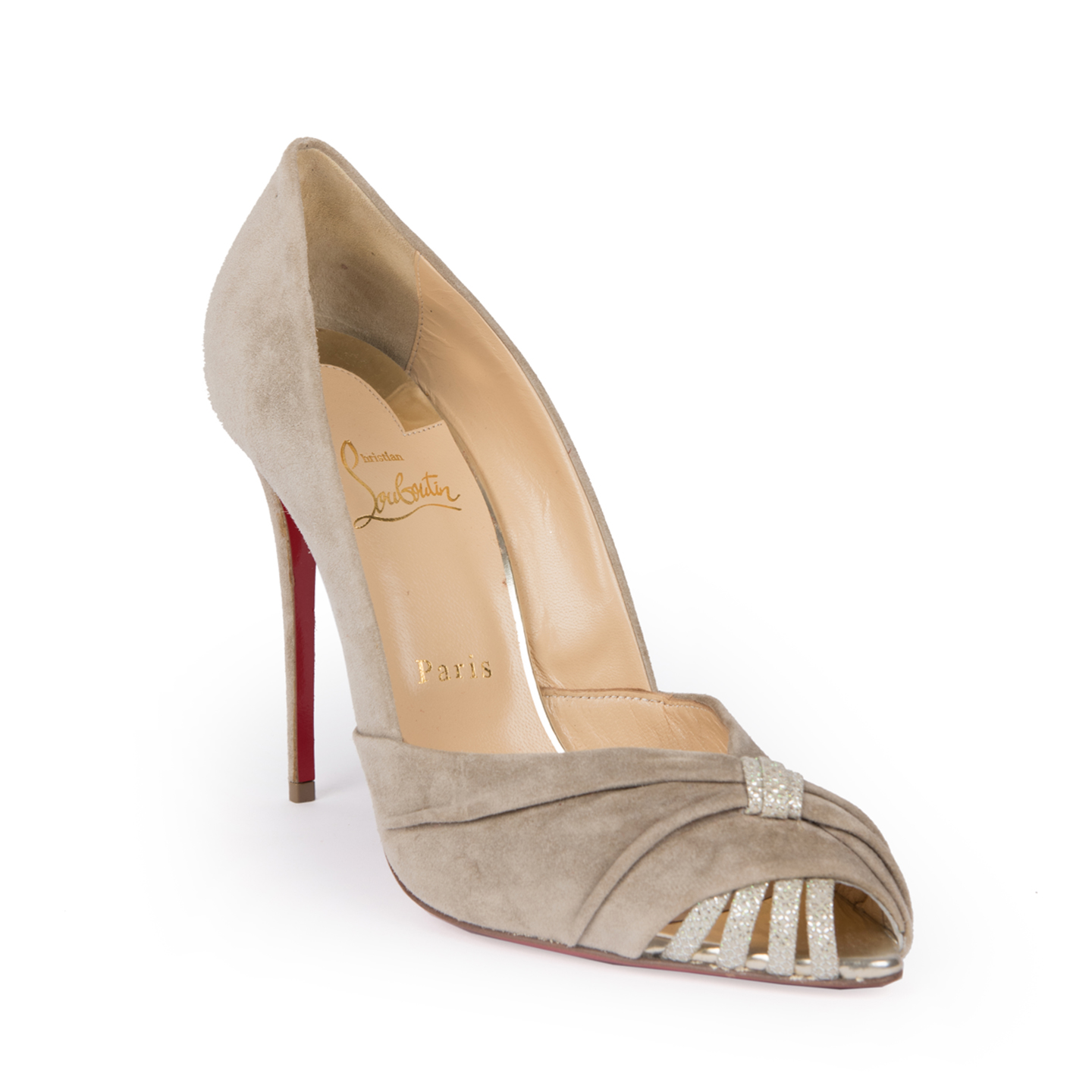 Christian Louboutin Suede Peep-Toe Sandals