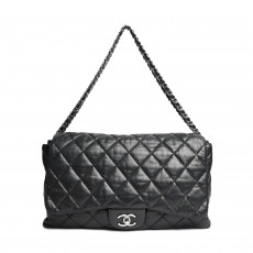 Chanel Black Quilted Lambskin Leather 3 Accordion Maxi Flap Bag 01