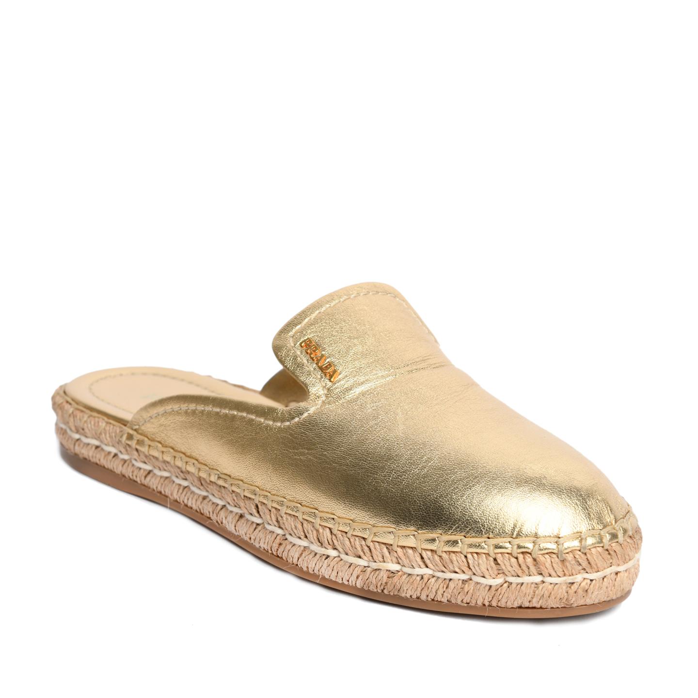 Prada Gold Metallic Slide Espadrille Mules 01