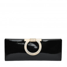 Salvatore Ferragamo Musa Patent Leather Gancini Clutch