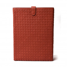 Bottega Veneta Intrecciato Leather iPad Case, Brique 01