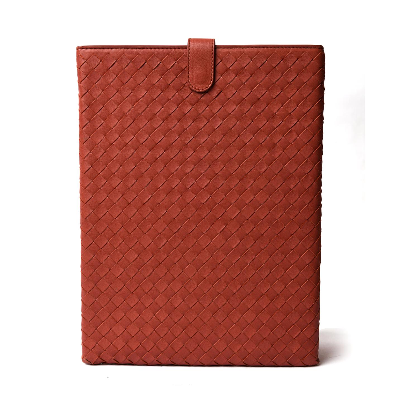 Bottega Veneta Intrecciato Leather iPad Case, Brique 01