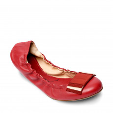 Bally Red Leather 'Beatris' Ballet Flats 01