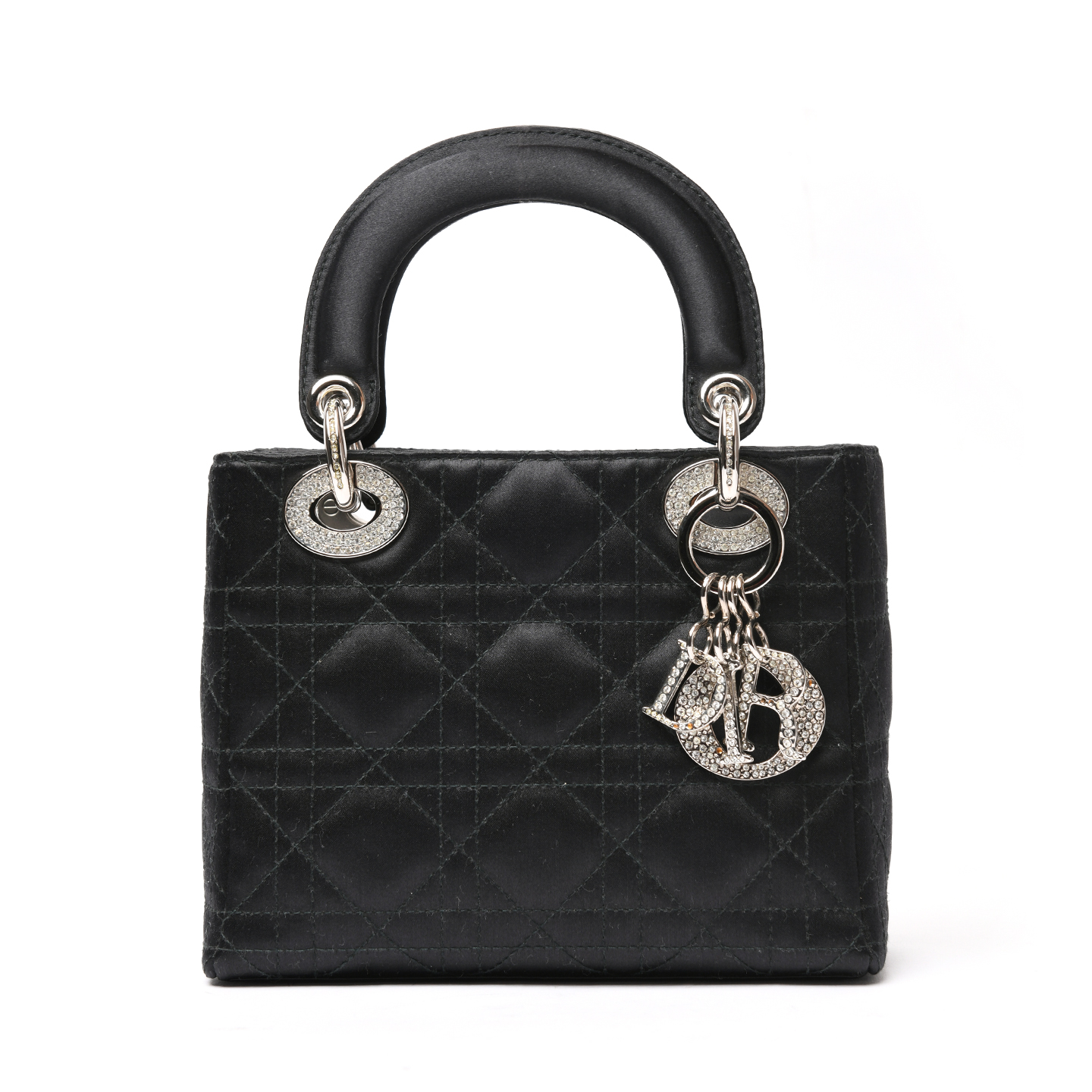 026c47182 Mini Lady Dior Bag In Black Cannage Satin With Rhinestones Price ...
