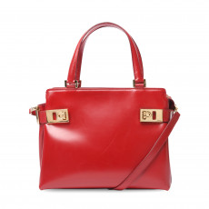 Salvatore Ferragamo Red Smooth Leather Satchel 01