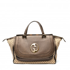 Gucci Beige/Ebony Diamante Canvas '1973' Medium Top Handle Bag 01