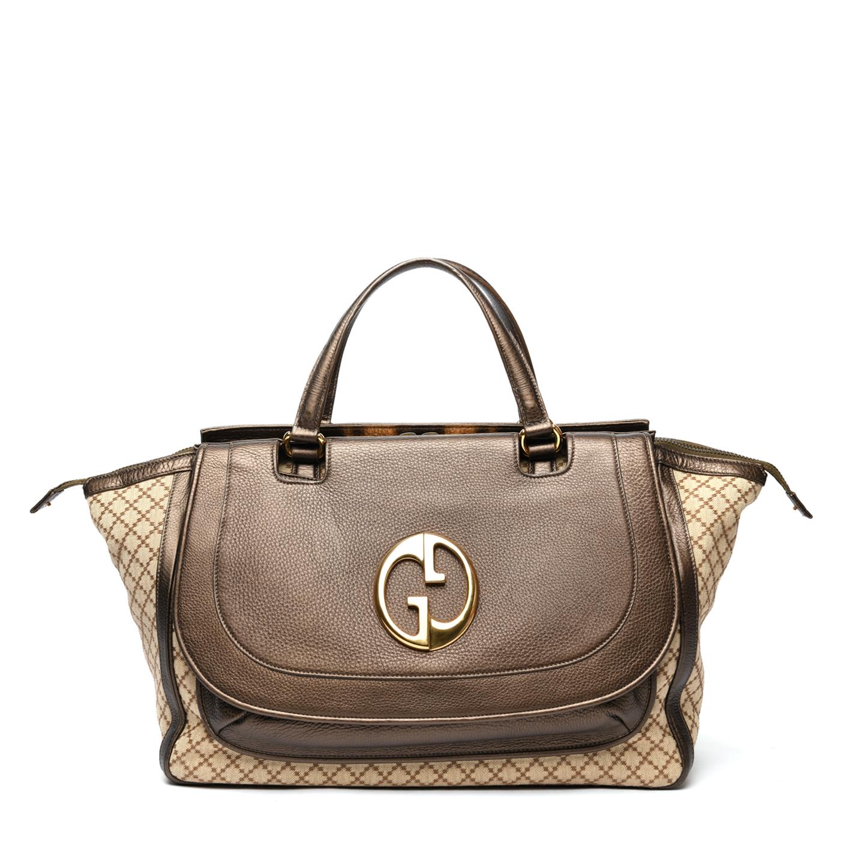 Gucci Beige/Ebony Diamante Canvas '1973' Medium Top Handle Bag 01