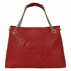 Gucci Soho Medium Red Textured-Leather Shoulder Bag 01