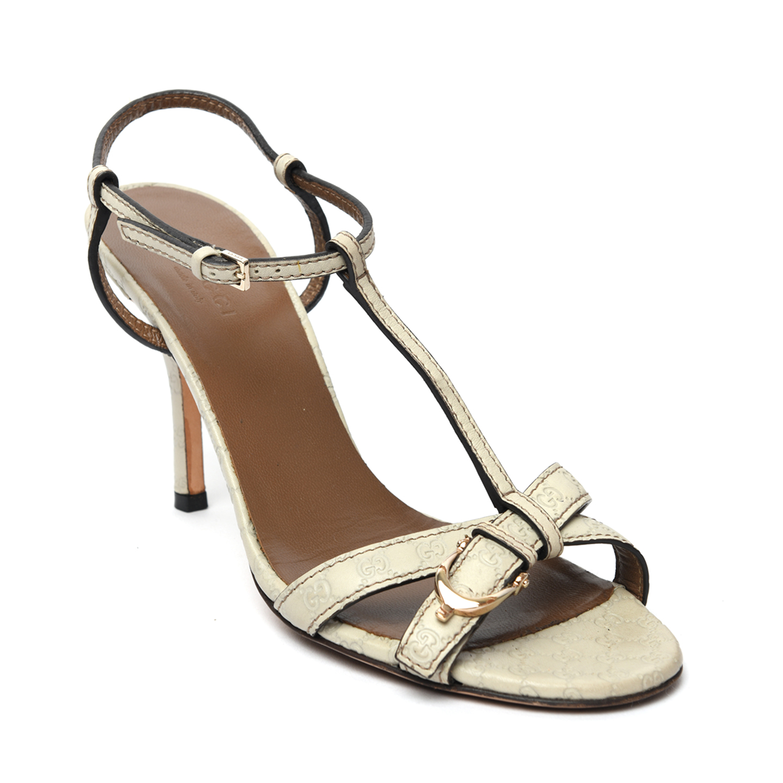 Gucci Off-White Microguccissima Leather Sandals 01