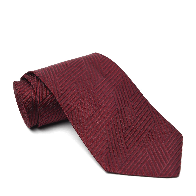 Ermenegildo Zegna Maroon Silk Jacquard Tie 01