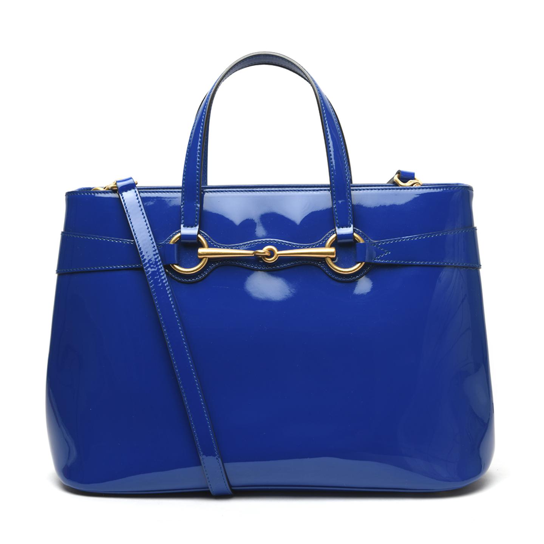 Gucci Blue Patent Leather Medium Bright Bit Tote 01