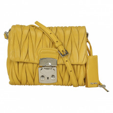 Miu Miu Matelassé Yellow Nappa Leather Shoulder Bag 01