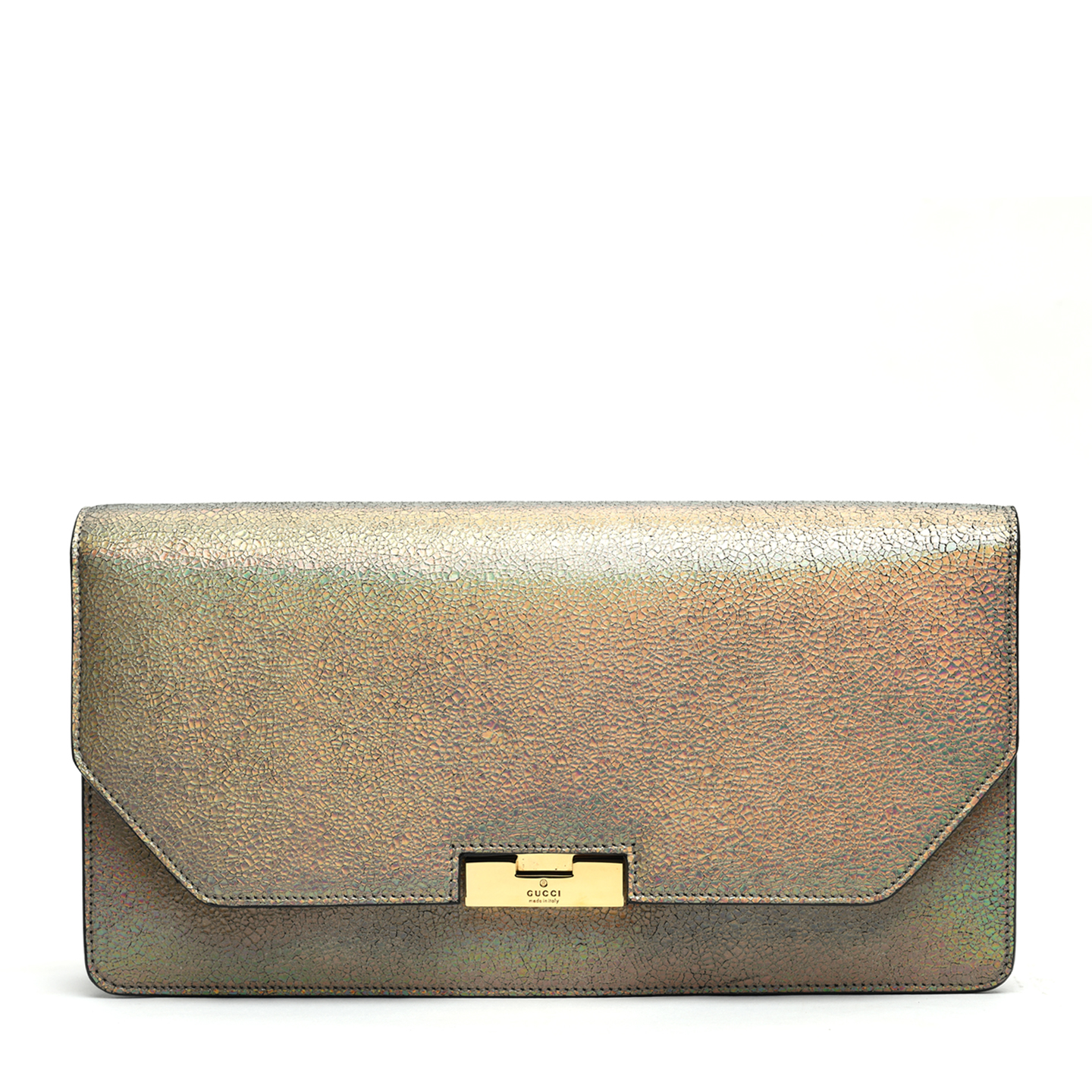 Gucci 58 Holographic Crackled Leather Clutch, Fawn 01