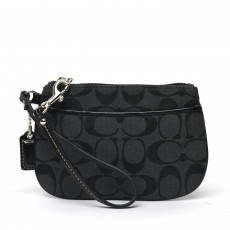 Coach Signature Jacquard Black Canvas Wristlet 01