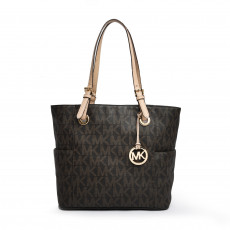 Michael Kors Brown Signature Canvas Jet Set Logo East/West Tote 01