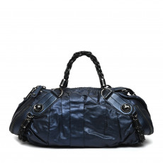 Gucci Metallic Blue Leather Galaxy Medium Top Handle Bag 01