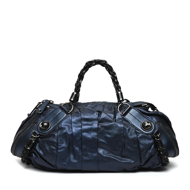 Gucci Metallic Blue Leather Galaxy Medium Top Handle Bag 01