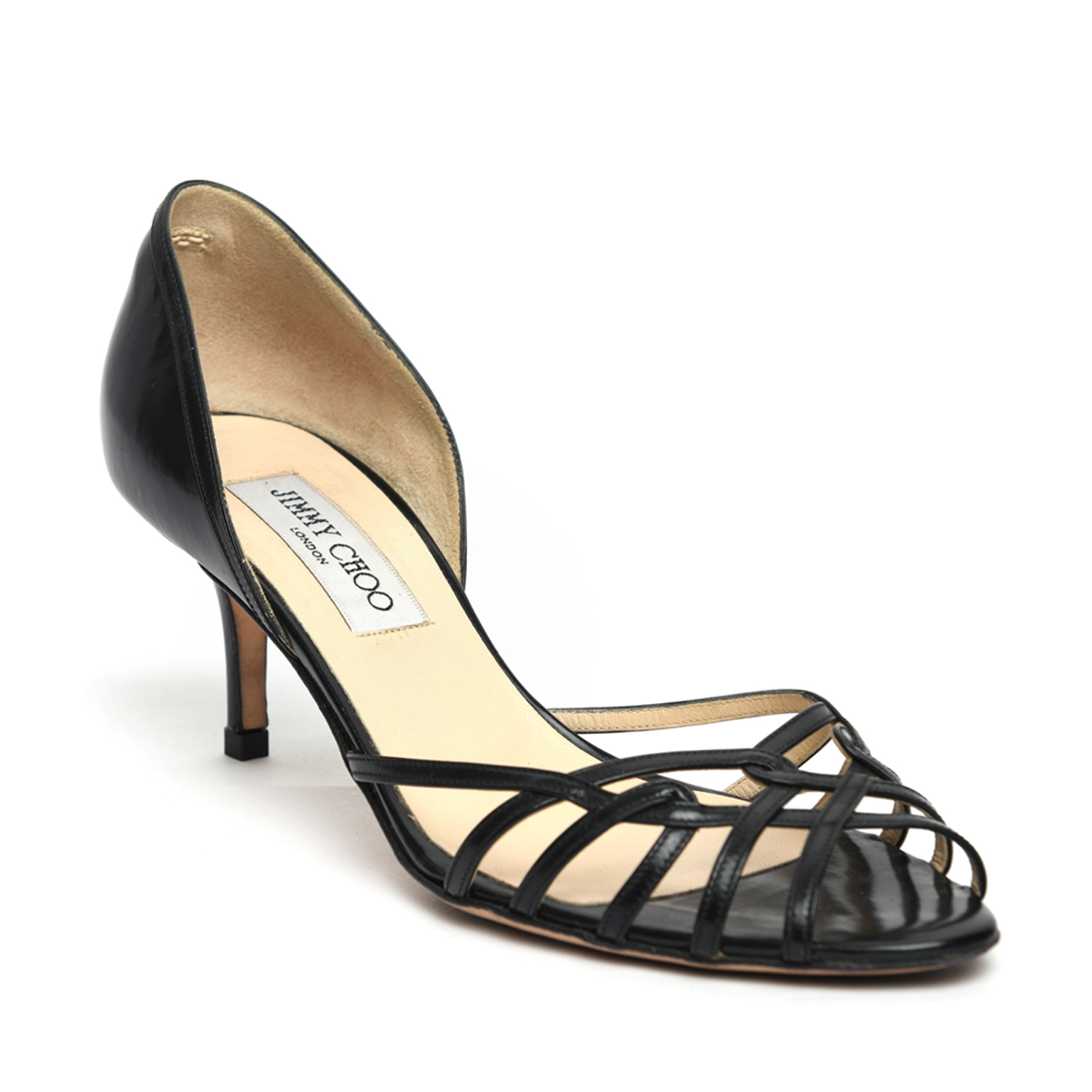 Jimmy Choo Black Leather 'Lantern' D'Orsay Pumps 01