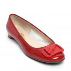 Salvatore Ferragamo Abetella Ballerina Flats in Patent Rosso 01