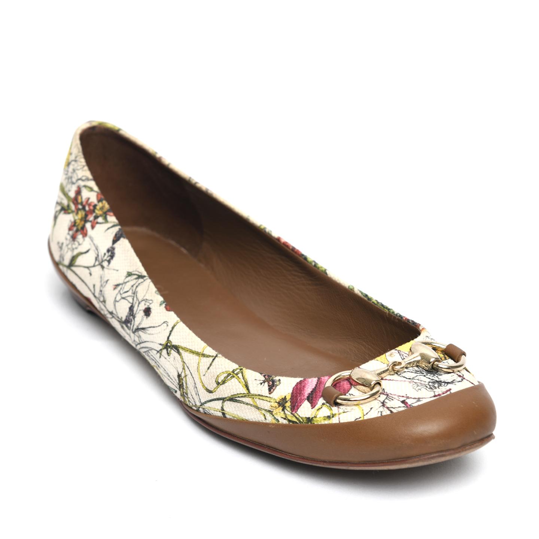 Gucci White Flora Canvas Horsebit Ballet Flats 01
