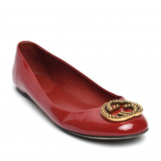 Gucci Red Patent GG Studded Ballet Flats 01