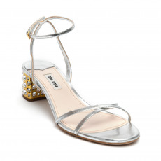 Miu Miu Jeweled Heel Ankle Strap Sandals 01