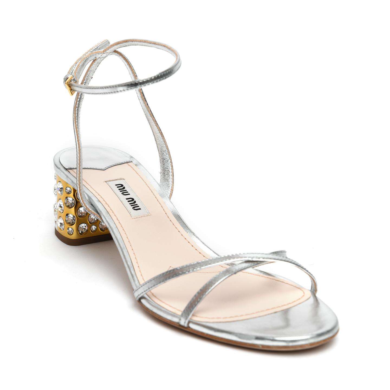 Miu Miu Jeweled Heel Ankle Strap Sandals 01