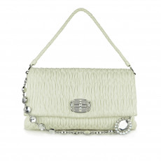 Miu Miu Cream Matelassé Leather Crystal Flap Shoulder Bag 01
