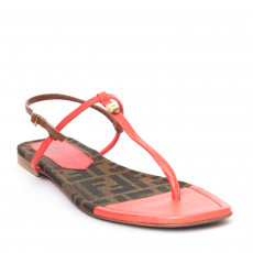 Fendi Pink Zucca Saffiano Leather Sandals 01