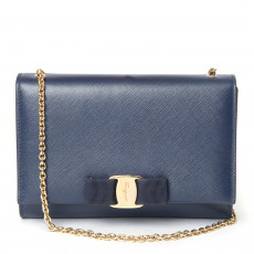 Salvatore Ferragamo Oxford Blue Ginny Small Shoulder Bag (01)