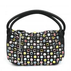Sonia Rykiel Small Black Leather Crystal Studded Domino Bag (01)