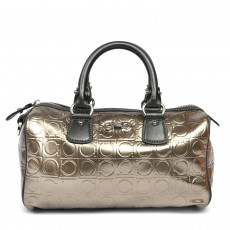 Salvatore Ferragamo Bronze Gancini Embossed Leather Bowler Bag (01)