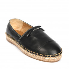 Prada Black Leather Bow Detail Espadrilles 01