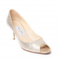 Jimmy Choo Metallic Gold Patent Evelyn Peep-toe Pumps (01)