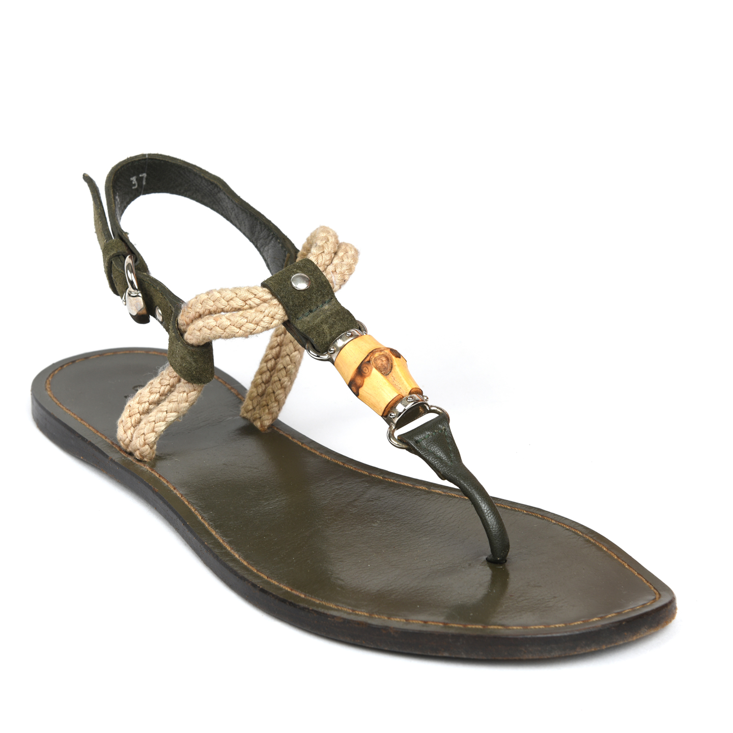 Gucci Bamboo-detailed rope and Leather Sandals 01