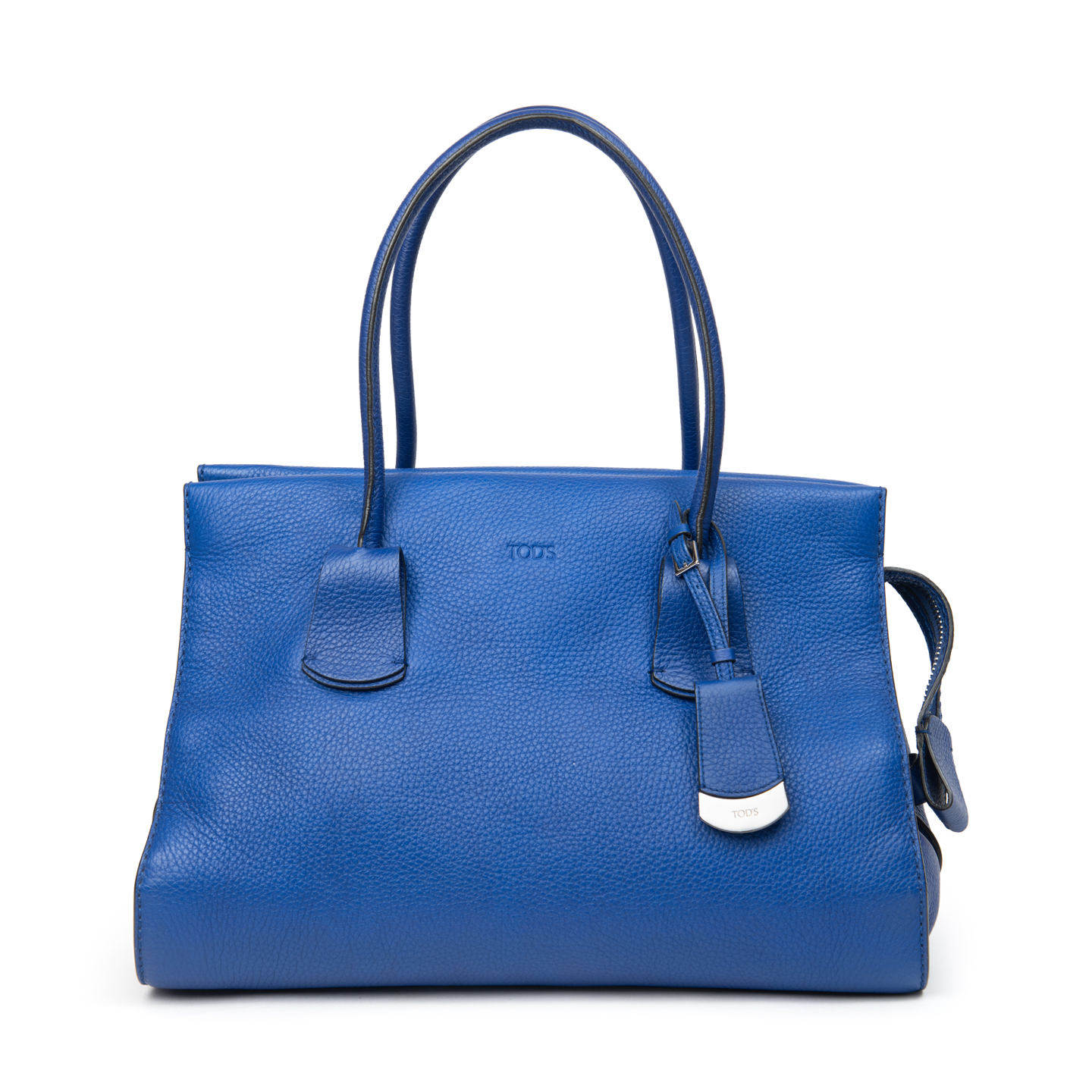 Tod's Blue Grained Leather Medium Note Shopping Bag 01