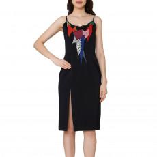 Christopher Kane Black Patchwork Appliqué Fitted Dress (01)