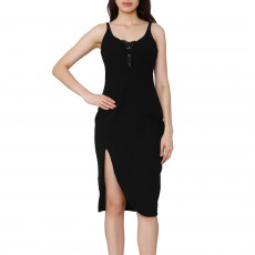 Elizabeth And James Black Sleeveless Midi Dress 01