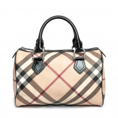 Burberry Black Supernova Check Medium Chester Bowling Bag 02