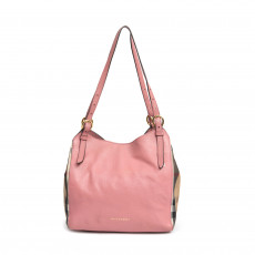 Burberry Pale Orchid Leather and House Check Small Canter Bag
