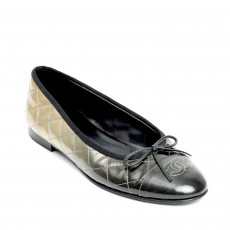 Chanel Black and Grey Ombre Cap-Toe Ballet Flats 01