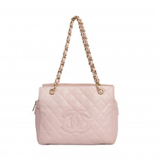 Chanel Pink Quilted Caviar Leather Petite Timeless Shopping Tote Bag 01