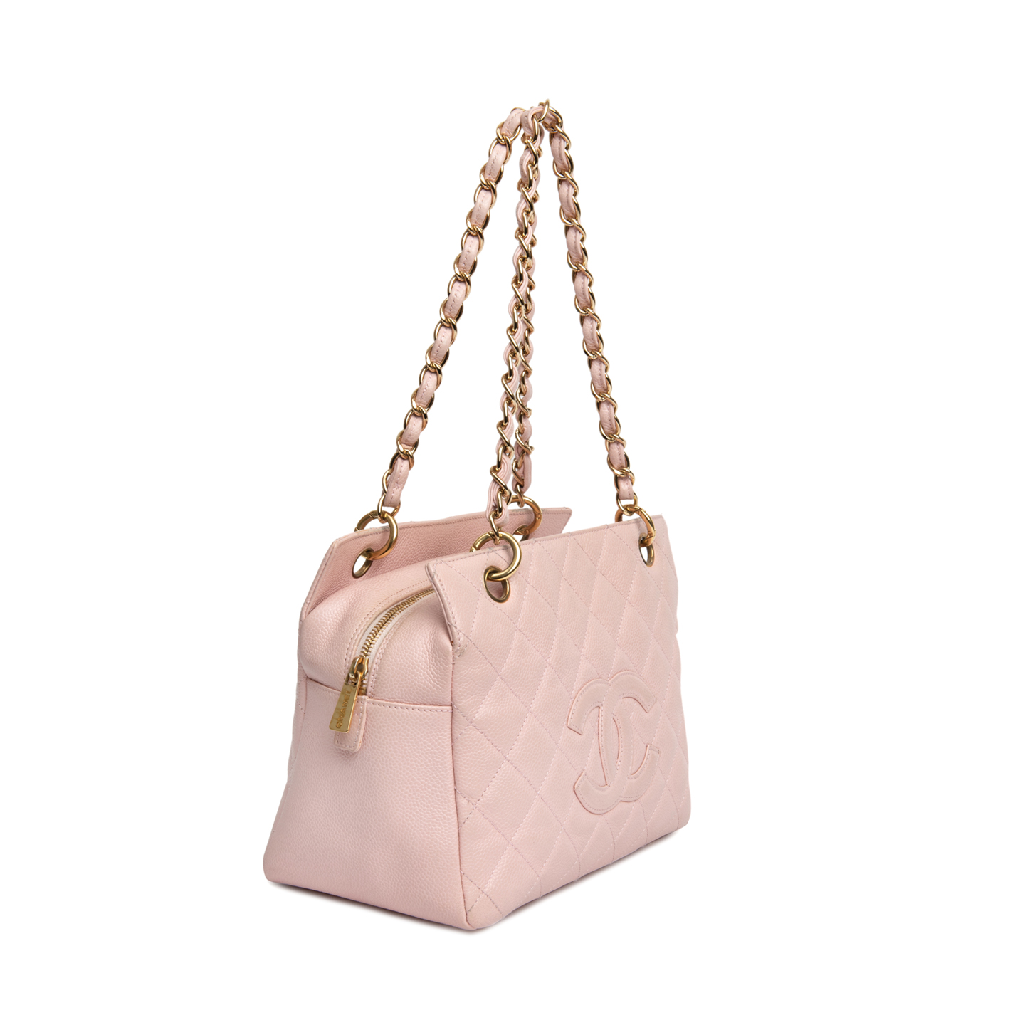 10816f9b0728 ... Chanel Pink Quilted Caviar Leather Petite Timeless Shopping Tote Bag 03  ...