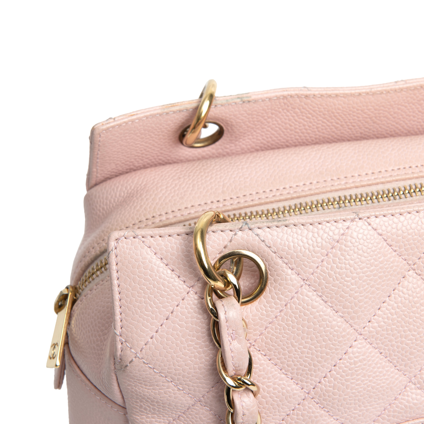 3d7fb769887c ... Chanel Pink Quilted Caviar Leather Petite Timeless Shopping Tote Bag 06  ...