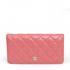 Chanel Pink Quilted Lambskin Leather L Yen Wallet