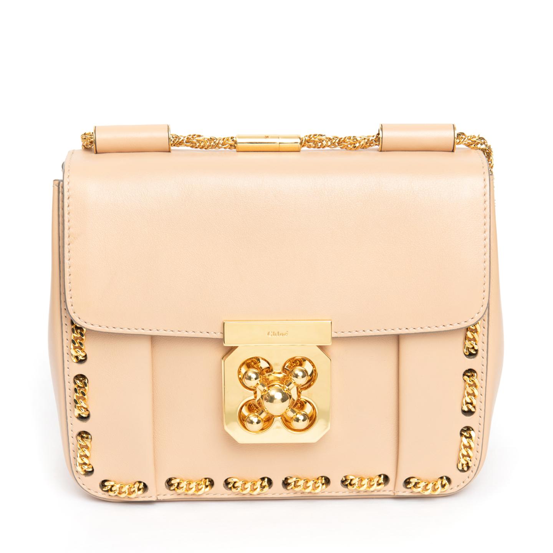 Chloe Beige Small Elsie Threaded Chain Shoulder Bag 05