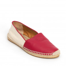 Gucci Red GG Leather Espadrille Flat 01